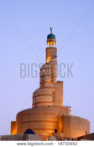 Spiral minaret of Islamic center in Doha Qatar
