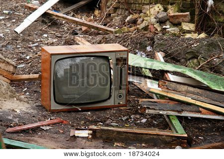 old abandoned television