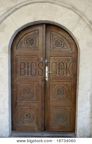 Historical ottoman mosque door in Sarajevo capital city of Bosnia Herzegovina