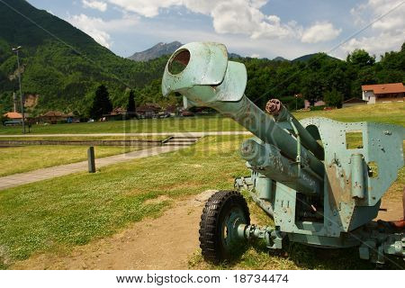 Old cannon that used in Second World War in Bosnia and Herzegovina