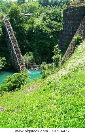 Destroyed railway bridge  in Bosnia and Herzegovina