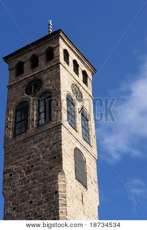 Watch tower detail in Sarajevo, the capital city of Bosnia and Herzegovina