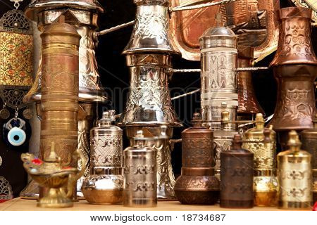 ancient brass pepper mills in souvenir shop in  Mostar, Bosnia and Herzegovina