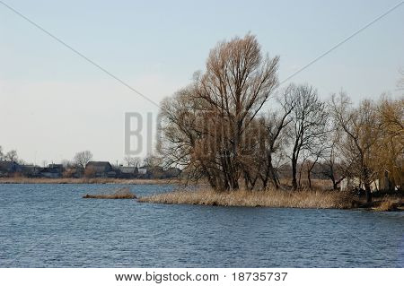 spring river landscape - river Riv in town of Bar in Ukraine