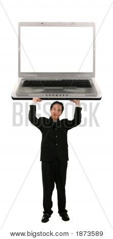 Holding Up Laptop With Blank Screen