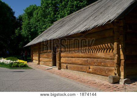 Russian Ancient Timbered Log Hut