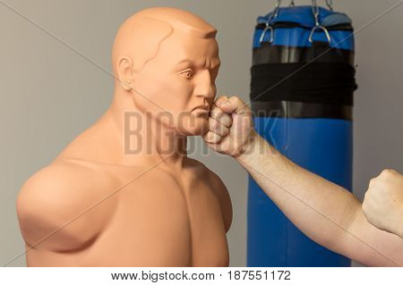 Caucasian Fighter With Bare Hands