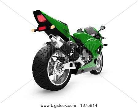 Isolated Motorcycle Back View 02