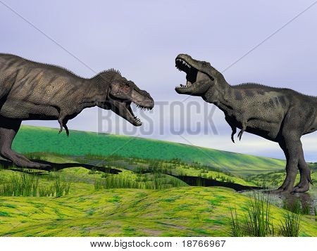 two trex fight