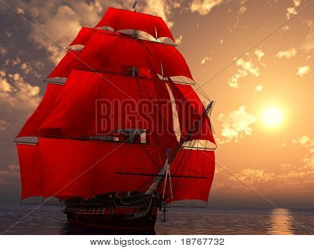 ship in the sea in sunset light with red sails