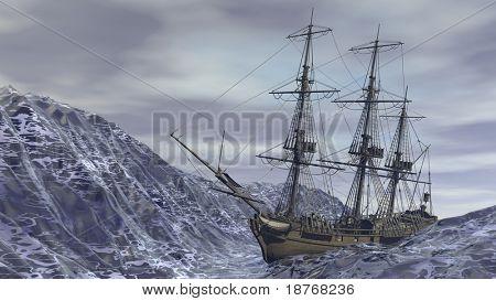 ship in ocean storm
