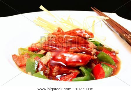 oriental cuisine of tender loin pork in hoisin sauce