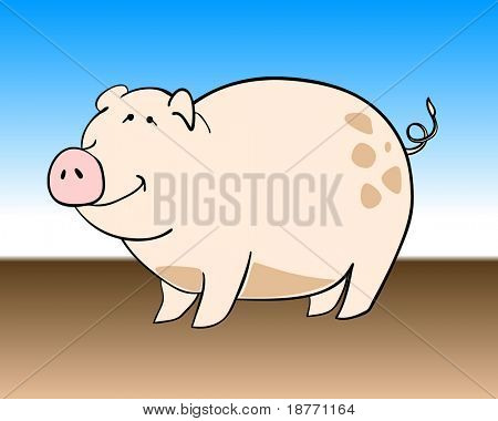vector illustration of a stubby pig