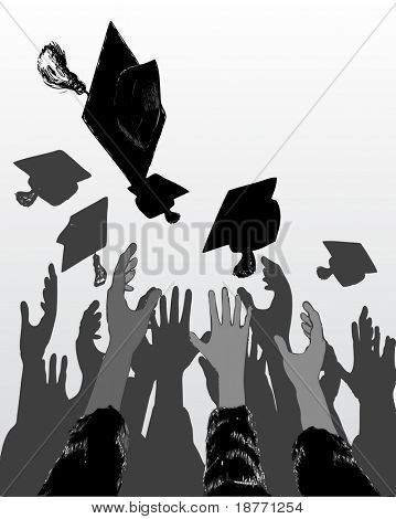 vector illustration of graduation day celebration
