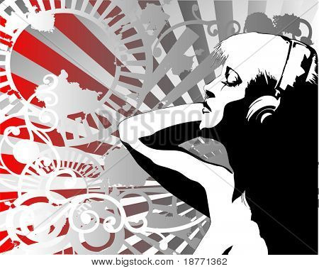vector illustration of a woman listening to the beat of the music