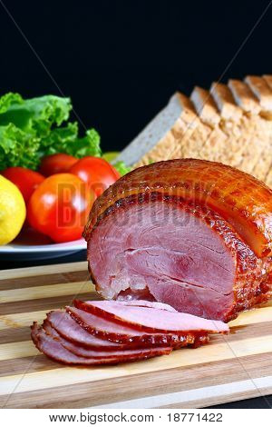 image of delicious broiled sweet ham