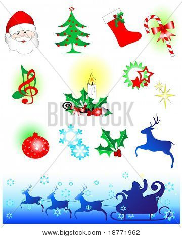 vector illustration of assorted christmas icons