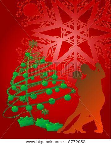 vector illustration of christmas romance concept