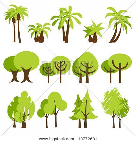 vector illustration of assorted trees