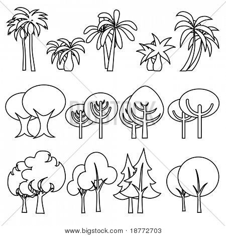 vector illustration of assorted tree icons