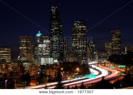 View Of Downtown Seattle After Dark
