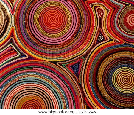 Anillos de colores de fieltro sobre una alfombra