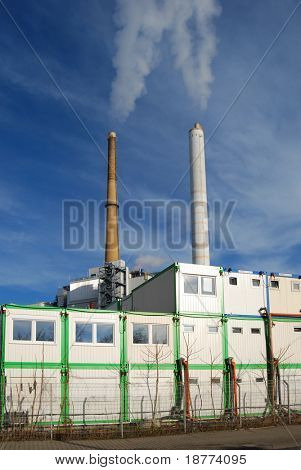 Site container in front of a waste incineration plant