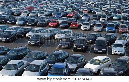 Cars on a parking lot in Germany