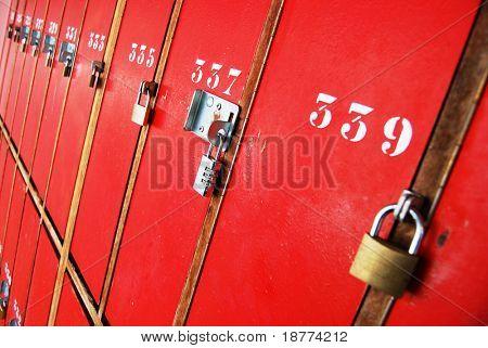 Locker room doors with locks