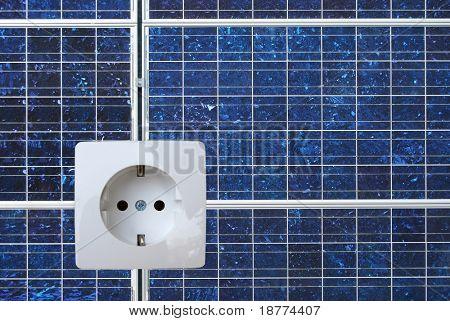 Solarenergie-Panel mit einer Steckdose