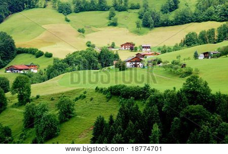 Green landscape and houses in the German alps