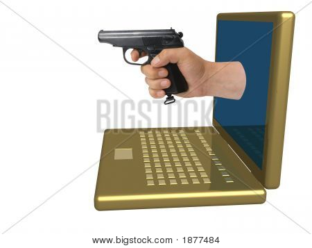 Hand With A Pistol Put Out From A Laptop