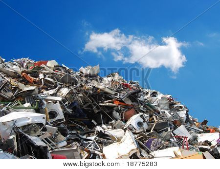 Pile of metallic waste on a recycling area