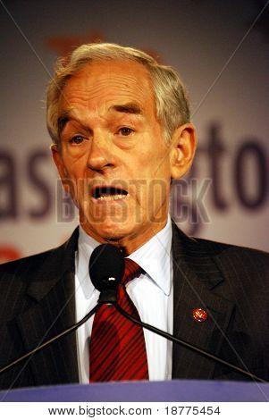 WASHINGTON DC â?? OCT 19: Representative Ron Paul speaking at â??Washington Briefing 2007: Values Voter Summitâ? on October 19, 2007, at the Hilton Hotel in downtown Washington DC.