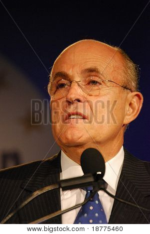 WASHINGTON DC â?? OCT 20: Former New York Mayor Rudy Giuliani speaking at â??Washington Briefing 2007: Values Voter Summitâ? on October 20, 2007, at the Hilton Hotel in downtown Washington DC.