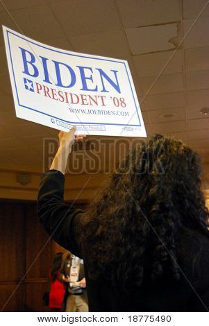 MCLEAN, VA - NOV 30, 2007: Senator Joe (Joseph) Biden's supporter holding a sign at the Democratic National Committee (DNC) meeting on November 30, 2007, in McLean, Virginia.
