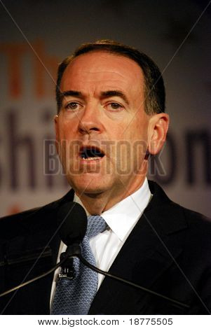 WASHINGTON DC â?? OCT 20: Governor Mike Huckabee speaking at â??Washington Briefing 2007: Values Voter Summitâ? on October 20, 2007, at the Hilton Hotel in downtown Washington DC.