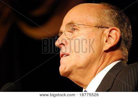 WASHINGTON DC â?? OCT 20: Former New York Mayor Rudy Giuliani speaking at â??Washington Briefing 2007: Values Voter Summitâ? on October 20, 2007, at the Hilton Hotel in downtown Washington DC.