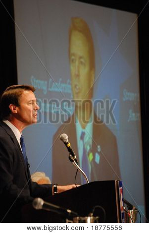 MCLEAN, VA - NOV 30, 2007: Senator John Edwards speaking at the Democratic National Committee (DNC) meeting on November 30, 2007, in McLean, Virginia.