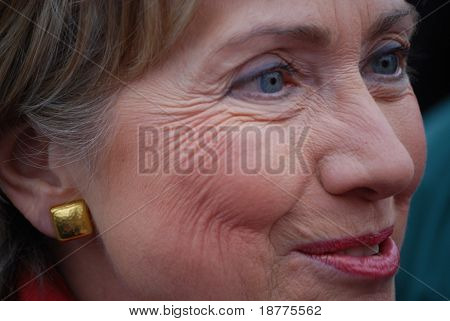 MANCHESTER, NH â?? JAN 8: Extreme closeup of Senator Hillary Clinton campaigning to become the Democratic party presidential candidate on January 8, 2008, in Manchester, New Hampshire.