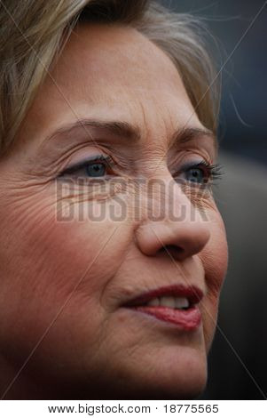 MANCHESTER, NH â?? JAN 8: Closeup of Senator Hillary Clinton campaigning to become the Democratic party presidential candidate on January 8, 2008, in Manchester, New Hampshire.