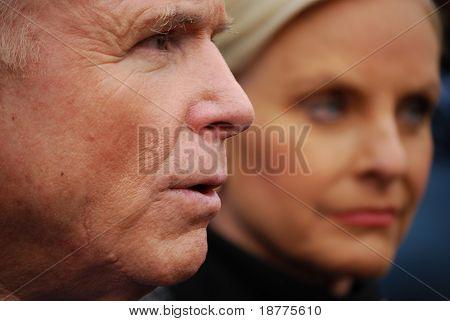 Senator John McCain, closeup with wife Cindy McCain looking right