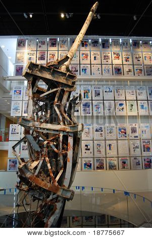 World Trade Center antenna and front pages of 9/11 newspaper in Newseum, Washington DC