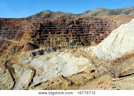 Historic open pit copper mine in Bisbee, Arizona