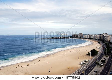 Copacabana beach in Rio de Janeiro, to the southwest, shot from a beachfront rooftop