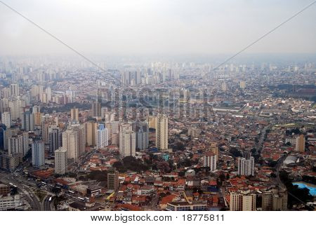 Skyline of Sao Paulo, Brazil, a huge metropolis covered by smog