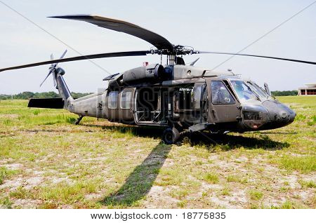 KILL DEVIL HILLS, NC - AUG 5: A Sikorsky UH-60 Black Hawk helicopter, based at 82nd Airborne Div. at Fort Bragg was visiting Wright Brothers Nat. Mem. on Aug 5, 2008.