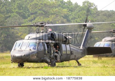 KILL DEVIL HILLS, NC - AUG 5: Two Sikorsky UH-60 Black Hawk helicopters based at 82nd Airborne Div. at Fort Bragg, visiting Wright Brothers Nat. Mem. on Aug 5, 2008.