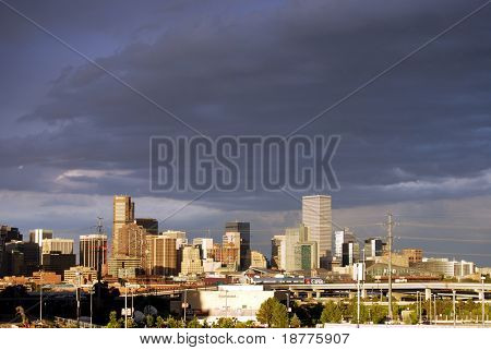 DENVER, COLORADO - AUG 24: Stormy Denver skyline, shot from Invesco Field at Mile High stadium, at the beginning of the Democratic party convention on August 24, 2008.