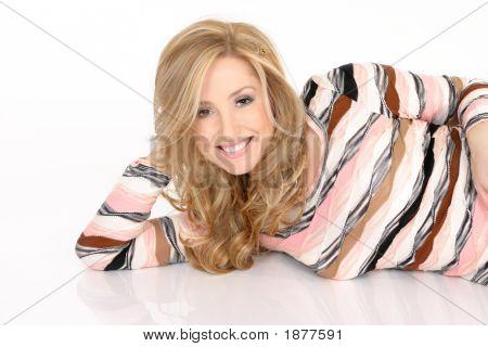 Smiling Female On The Floor